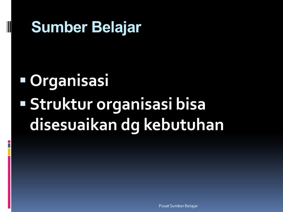 Sumber Belajar  Organisasi  Struktur organisasi bisa disesuaikan dg kebutuhan Pusat Sumber Belajar