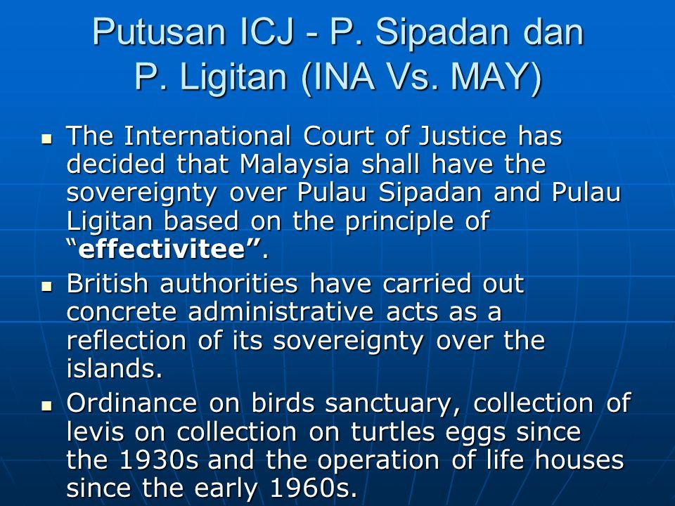 Putusan ICJ - P. Sipadan dan P. Ligitan (INA Vs.