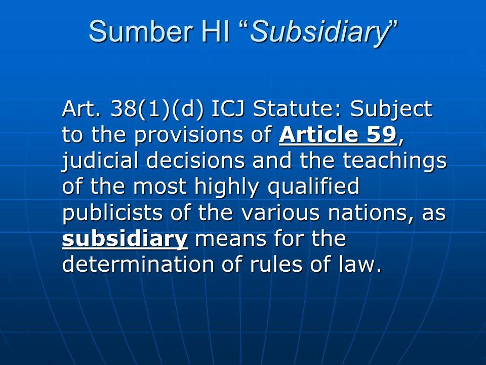 Sumber HI Subsidiary Art.