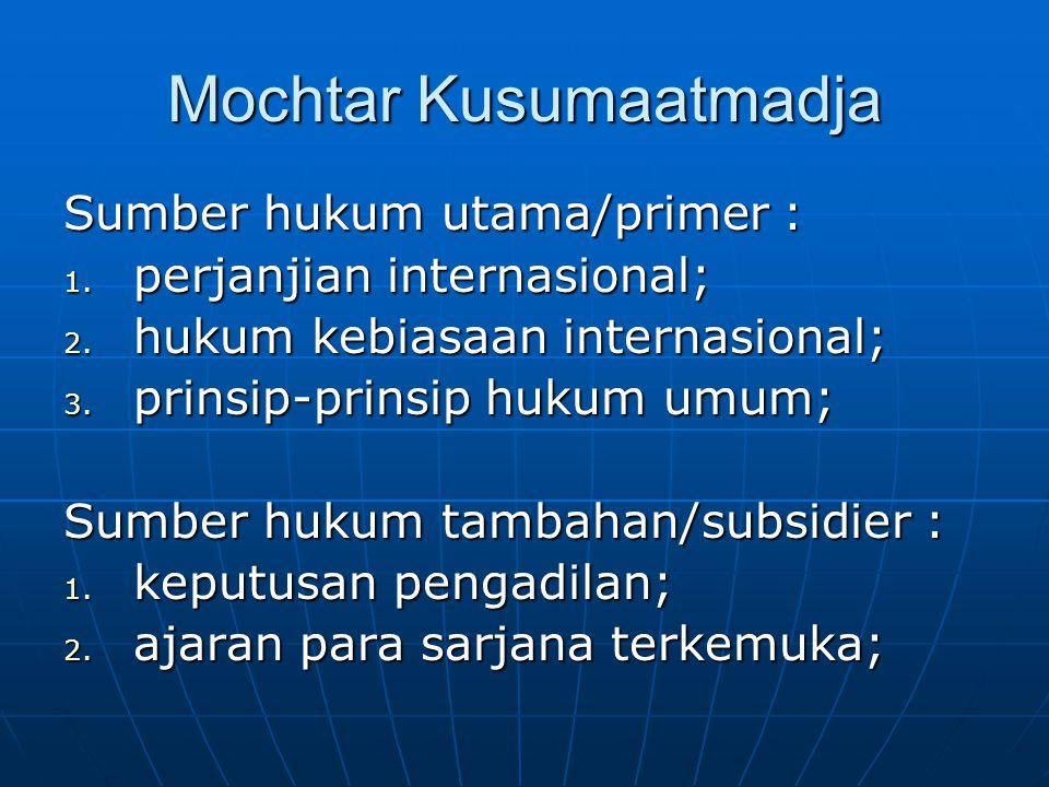Starke's: Source of IL 1.Customary international law; 2.