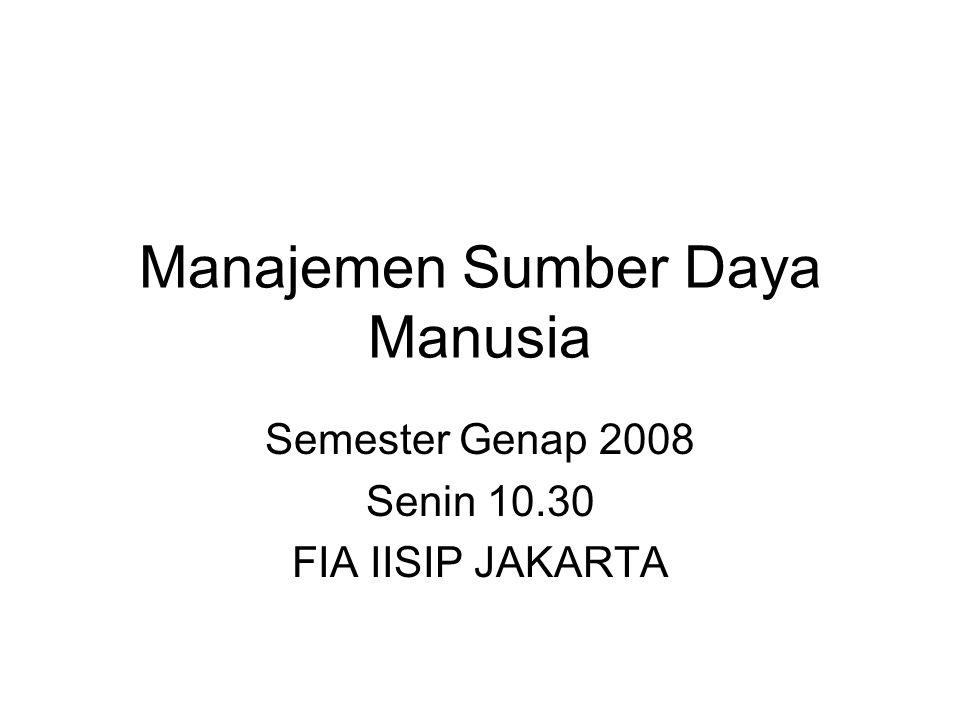 Manajemen Sumber Daya Manusia Semester Genap 2008 Senin 10.30 FIA IISIP JAKARTA