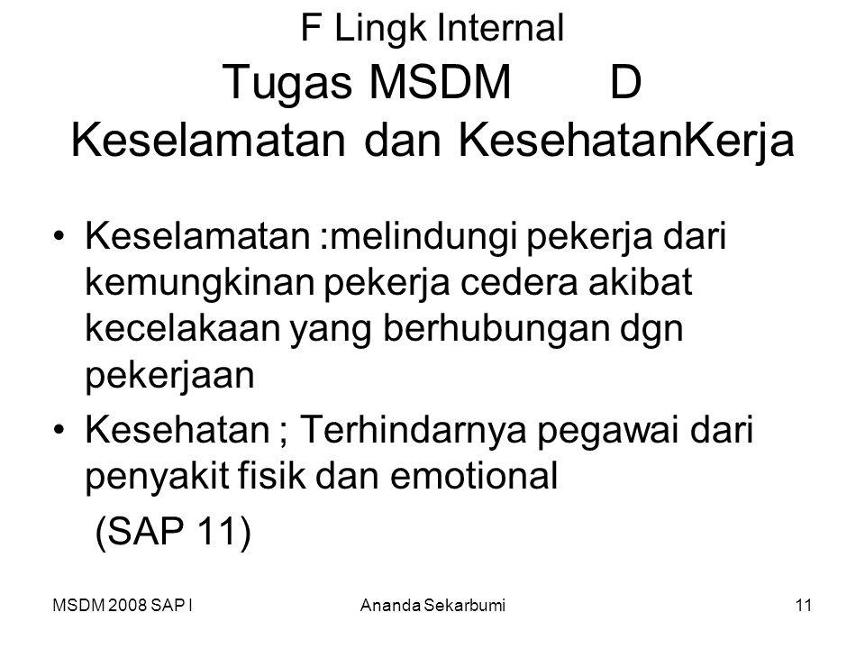 MSDM 2008 SAP IAnanda Sekarbumi11 F Lingk Internal Tugas MSDM D Keselamatan dan KesehatanKerja Keselamatan :melindungi pekerja dari kemungkinan pekerj