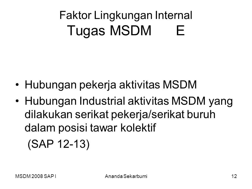 MSDM 2008 SAP IAnanda Sekarbumi12 Faktor Lingkungan Internal Tugas MSDM E Hubungan pekerja aktivitas MSDM Hubungan Industrial aktivitas MSDM yang dila