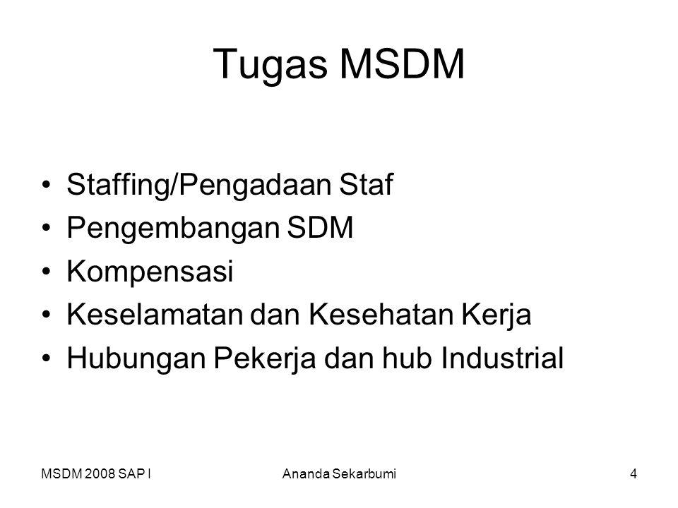 MSDM 2008 SAP IAnanda Sekarbumi4 Tugas MSDM Staffing/Pengadaan Staf Pengembangan SDM Kompensasi Keselamatan dan Kesehatan Kerja Hubungan Pekerja dan h
