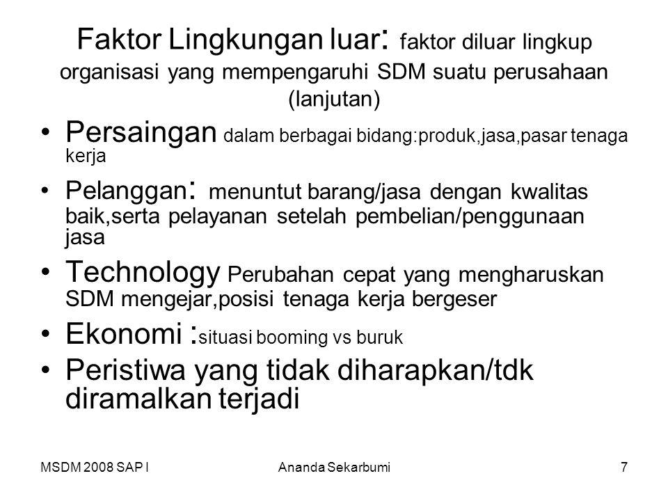 MSDM 2008 SAP IAnanda Sekarbumi7 Faktor Lingkungan luar : faktor diluar lingkup organisasi yang mempengaruhi SDM suatu perusahaan (lanjutan) Persainga