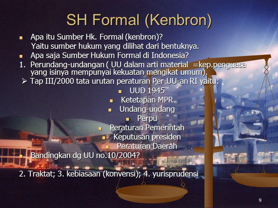 9 SH Formal (Kenbron) Apa itu Sumber Hk. Formal (kenbron)? Apa itu Sumber Hk. Formal (kenbron)? Yaitu sumber hukum yang dilihat dari bentuknya. Yaitu