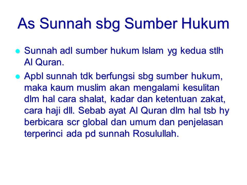 As Sunnah sbg Sumber Hukum Sunnah adl sumber hukum Islam yg kedua stlh Al Quran.