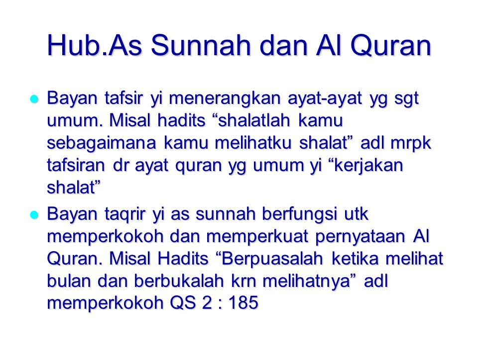 Hub.As Sunnah dan Al Quran Bayan tafsir yi menerangkan ayat-ayat yg sgt umum.