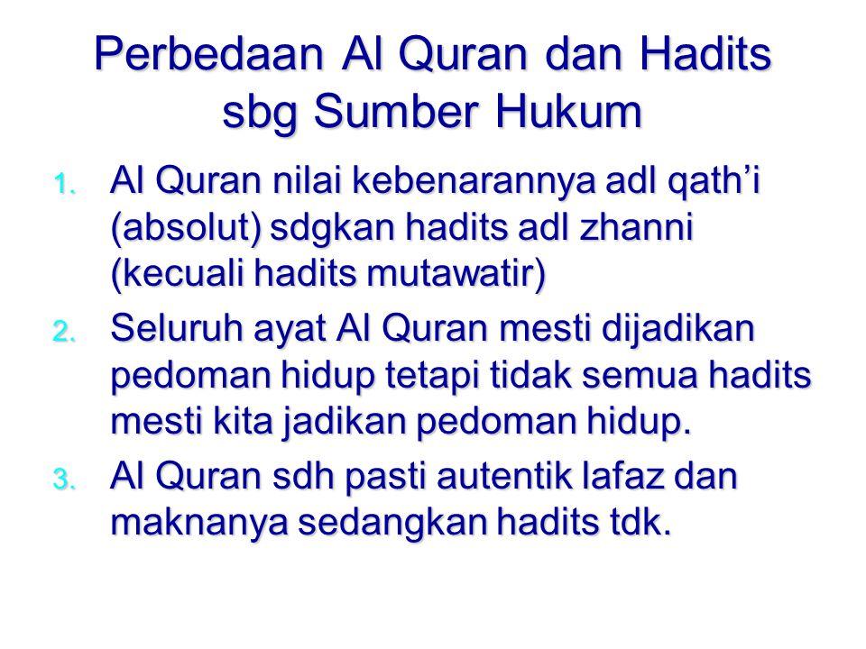 Perbedaan Al Quran dan Hadits sbg Sumber Hukum 1.