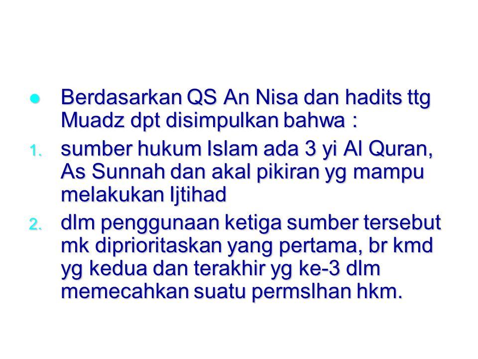 Berdasarkan QS An Nisa dan hadits ttg Muadz dpt disimpulkan bahwa : Berdasarkan QS An Nisa dan hadits ttg Muadz dpt disimpulkan bahwa : 1.