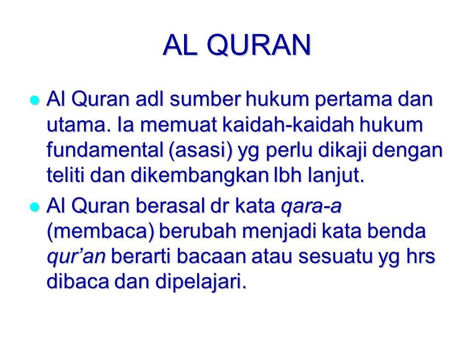 AL QURAN Al Quran adl sumber hukum pertama dan utama.