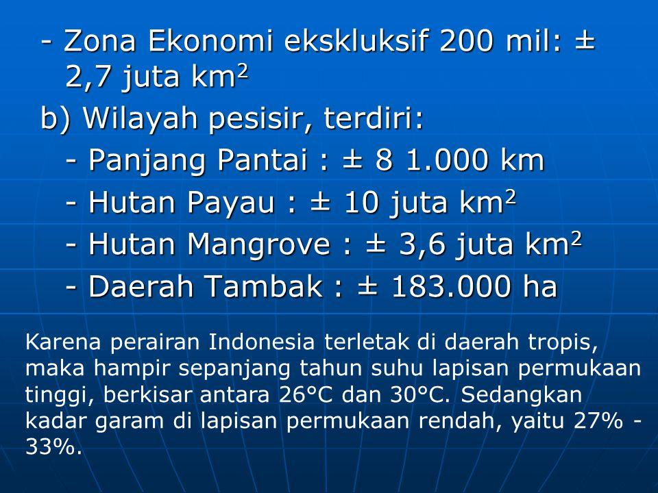 - Zona Ekonomi ekskluksif 200 mil: ± 2,7 juta km 2 b) Wilayah pesisir, terdiri: - Panjang Pantai : ± 8 1.000 km - Hutan Payau : ± 10 juta km 2 - Hutan