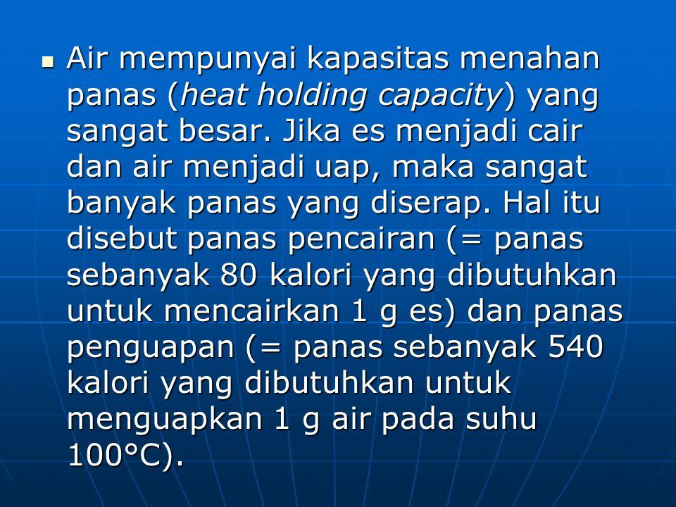 Air mempunyai kapasitas menahan panas (heat holding capacity) yang sangat besar. Jika es menjadi cair dan air menjadi uap, maka sangat banyak panas ya