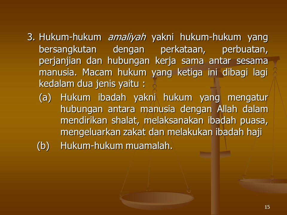 15 3.Hukum-hukum amaliyah yakni hukum-hukum yang bersangkutan dengan perkataan, perbuatan, perjanjian dan hubungan kerja sama antar sesama manusia. Ma