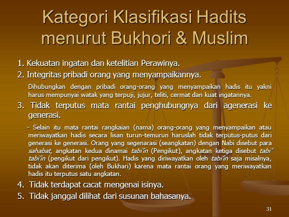 Kategori Klasifikasi Hadits menurut Bukhori & Muslim 1. Kekuatan ingatan dan ketelitian Perawinya. 2. Integritas pribadi orang yang menyampaikannya. D