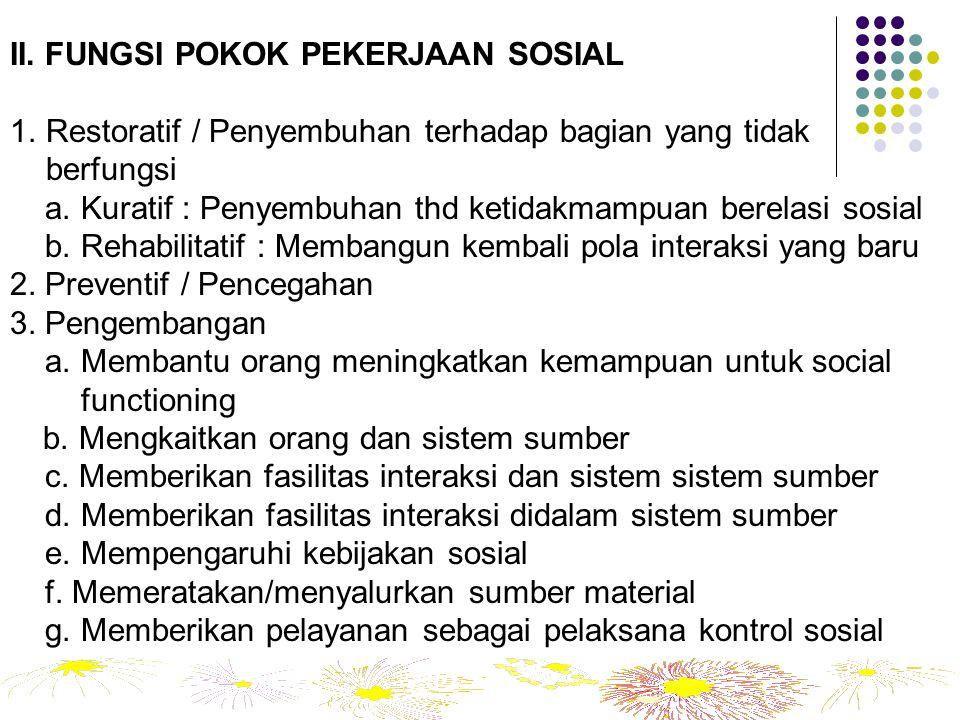 II. FUNGSI POKOK PEKERJAAN SOSIAL 1.Restoratif / Penyembuhan terhadap bagian yang tidak berfungsi a. Kuratif : Penyembuhan thd ketidakmampuan berelasi