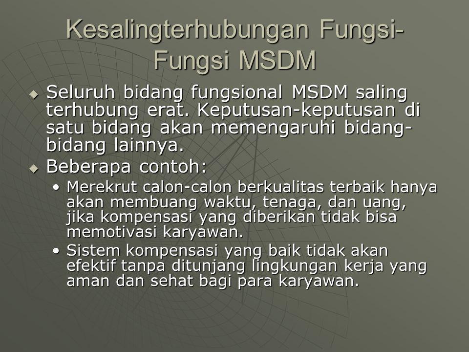 Kesalingterhubungan Fungsi- Fungsi MSDM  Seluruh bidang fungsional MSDM saling terhubung erat.