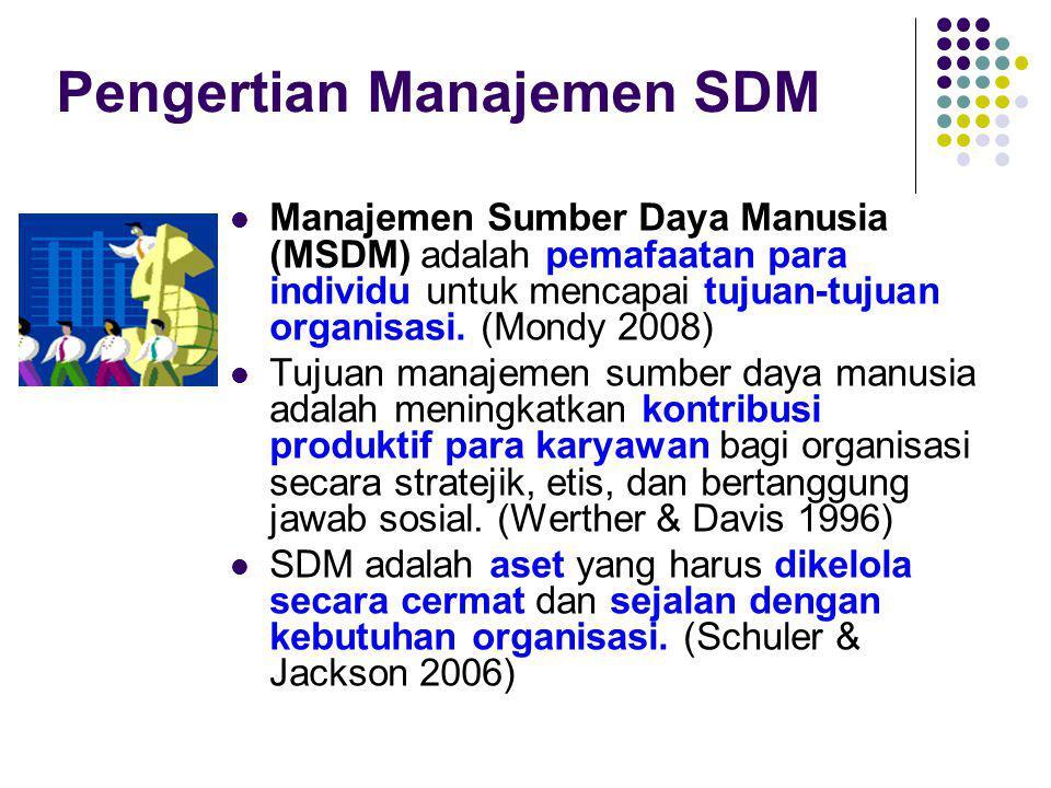 Pengertian Manajemen SDM Manajemen Sumber Daya Manusia (MSDM) adalah pemafaatan para individu untuk mencapai tujuan-tujuan organisasi.