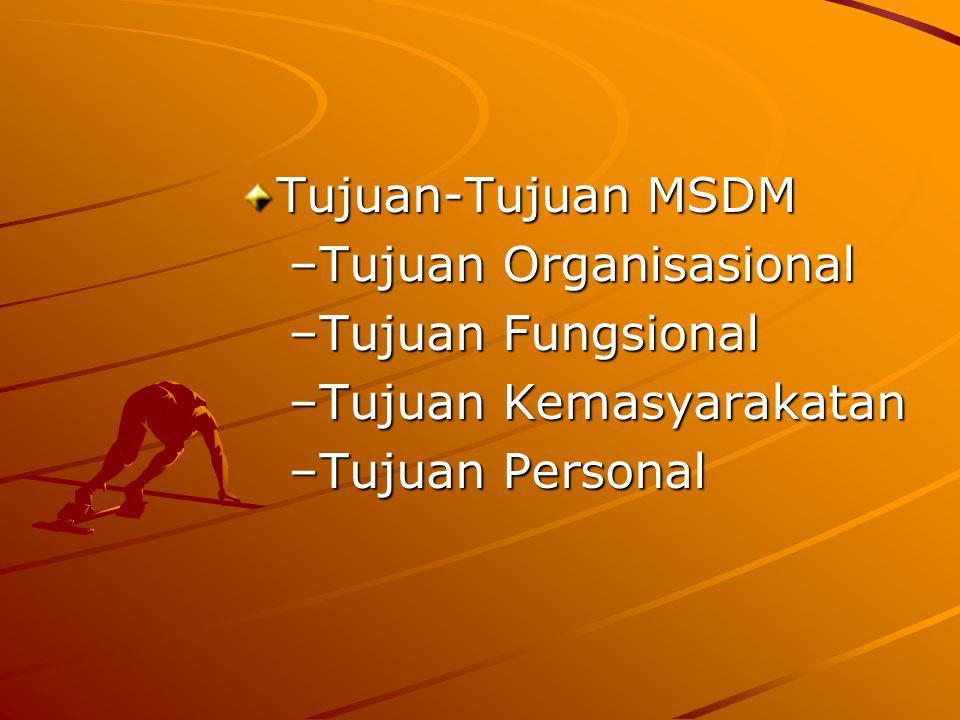 Tujuan-Tujuan MSDM –Tujuan Organisasional –Tujuan Fungsional –Tujuan Kemasyarakatan –Tujuan Personal