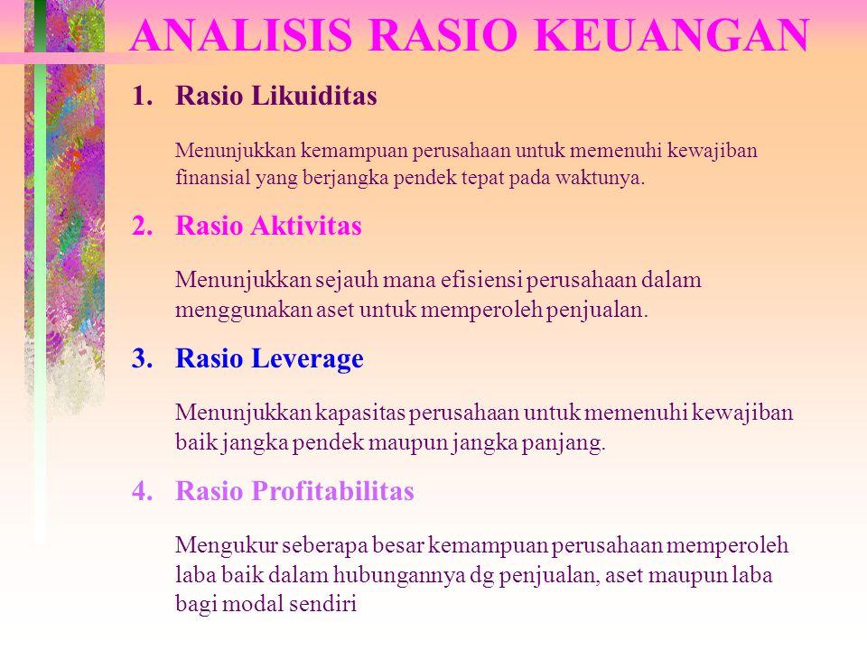ANALISIS RASIO KEUANGAN 1.Rasio Likuiditas Menunjukkan kemampuan perusahaan untuk memenuhi kewajiban finansial yang berjangka pendek tepat pada waktun