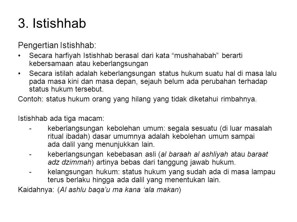 """3. Istishhab Pengertian Istishhab: Secara harfiyah Istishhab berasal dari kata """"mushahabah"""" berarti kebersamaan atau keberlangsungan Secara istilah ad"""