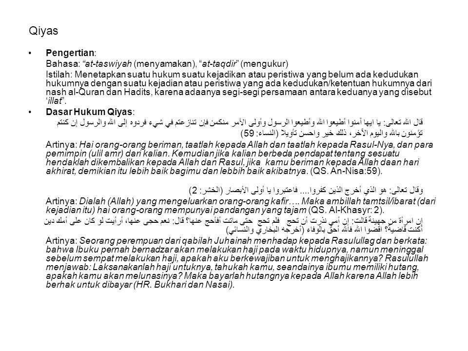 Rukun Qiyas: 1)Ashal: yang berarti pokok, yaitu suatu peristiwa yang telah ditetapkan hukumnya dalam nash (al-Quran dan Hadits), ashal disebut juga maqis 'alaih .