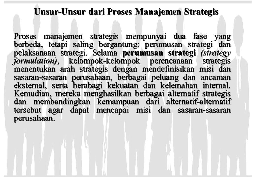 Unsur-Unsur dari Proses Manajemen Strategis Proses manajemen strategis mempunyai dua fase yang berbeda, tetapi saling bergantung: perumusan strategi d