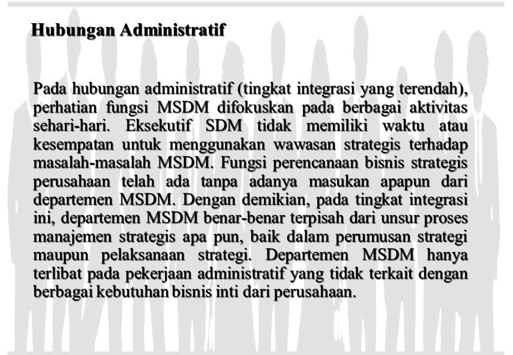 Hubungan Administratif Pada hubungan administratif (tingkat integrasi yang terendah), perhatian fungsi MSDM difokuskan pada berbagai aktivitas sehari-