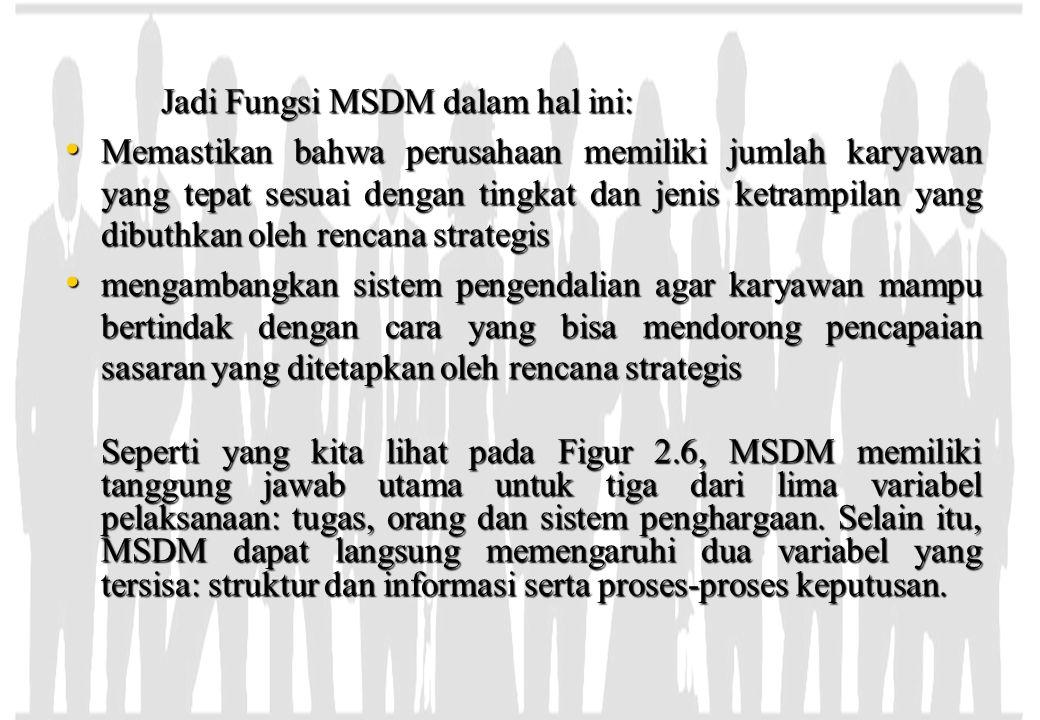 Jadi Fungsi MSDM dalam hal ini: Memastikan bahwa perusahaan memiliki jumlah karyawan yang tepat sesuai dengan tingkat dan jenis ketrampilan yang dibut
