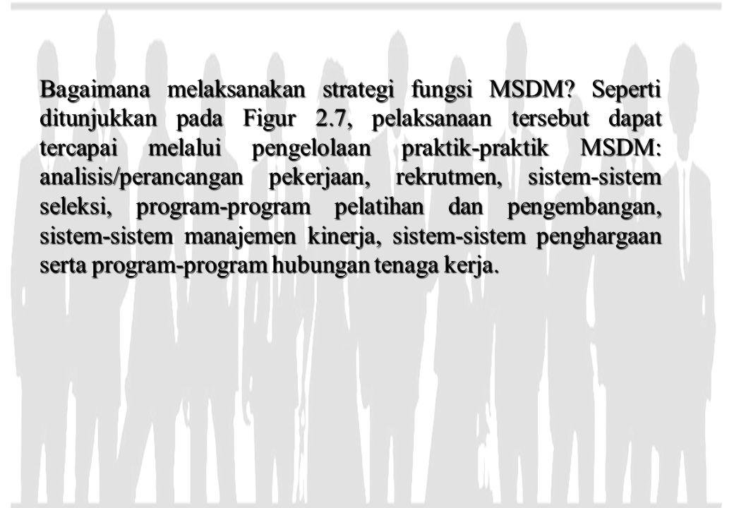 Bagaimana melaksanakan strategi fungsi MSDM? Seperti ditunjukkan pada Figur 2.7, pelaksanaan tersebut dapat tercapai melalui pengelolaan praktik-prakt