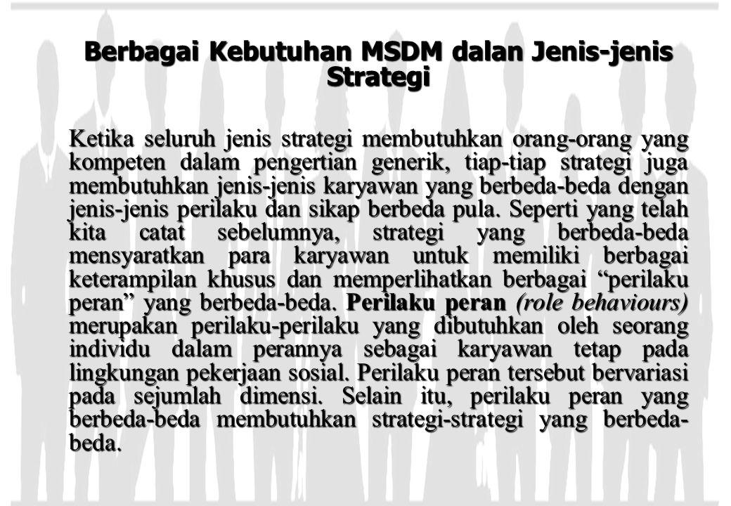 Berbagai Kebutuhan MSDM dalan Jenis-jenis Strategi Ketika seluruh jenis strategi membutuhkan orang-orang yang kompeten dalam pengertian generik, tiap-
