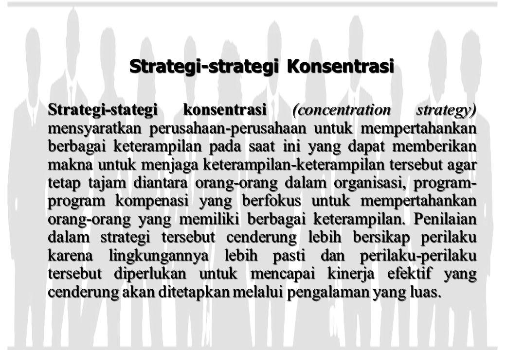 Strategi-strategi Konsentrasi Strategi-stategi konsentrasi (concentration strategy) mensyaratkan perusahaan-perusahaan untuk mempertahankan berbagai k