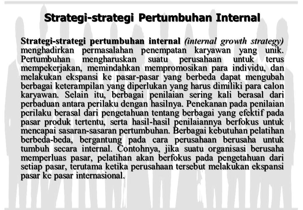 Strategi-strategi Pertumbuhan Internal Strategi-strategi pertumbuhan internal (internal growth strategy) menghadirkan permasalahan penempatan karyawan