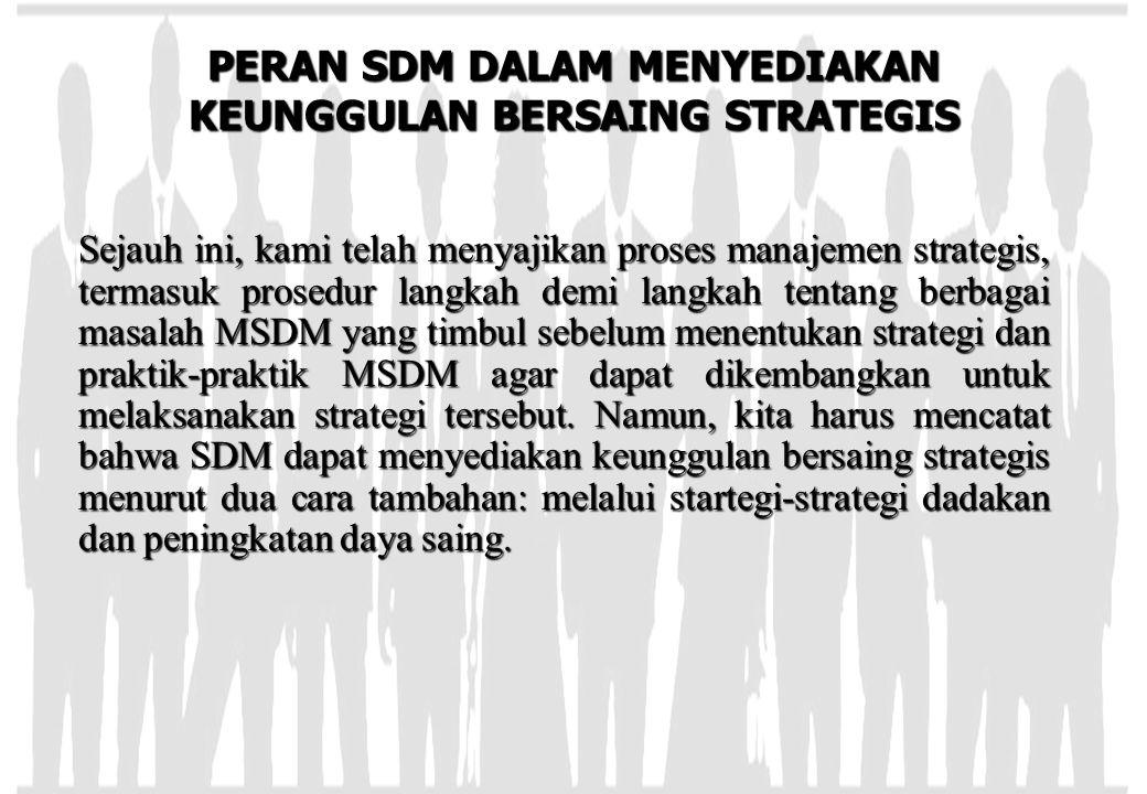 PERAN SDM DALAM MENYEDIAKAN KEUNGGULAN BERSAING STRATEGIS Sejauh ini, kami telah menyajikan proses manajemen strategis, termasuk prosedur langkah demi