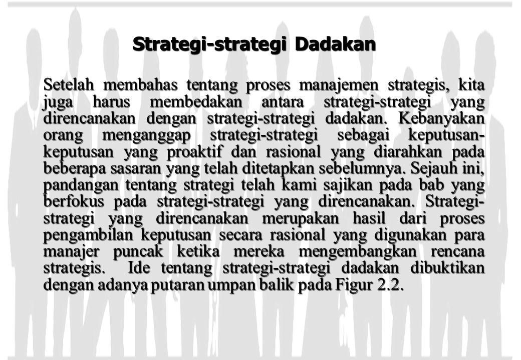 Strategi-strategi Dadakan Setelah membahas tentang proses manajemen strategis, kita juga harus membedakan antara strategi-strategi yang direncanakan d