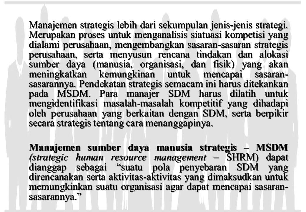 Manajemen strategis lebih dari sekumpulan jenis-jenis strategi. Merupakan proses untuk menganalisis siatuasi kompetisi yang dialami perusahaan, mengem