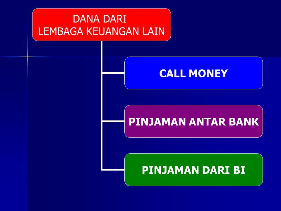 DANA DARI LEMBAGA KEUANGAN LAIN CALL MONEY PINJAMAN ANTAR BANK PINJAMAN DARI BI
