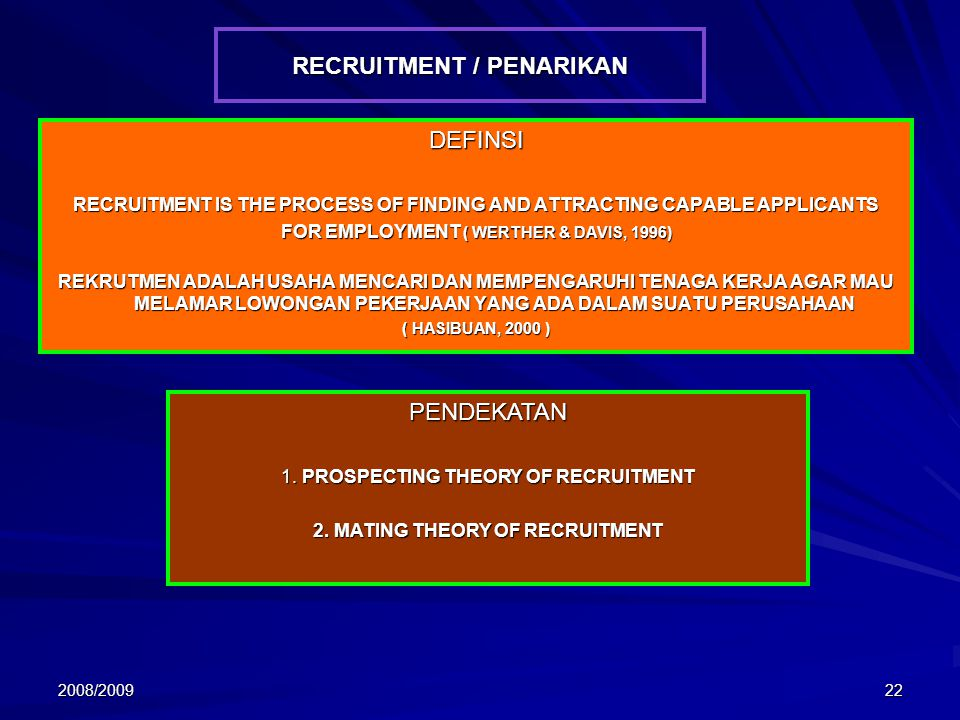 2008/200922 RECRUITMENT / PENARIKAN DEFINSI RECRUITMENT IS THE PROCESS OF FINDING AND ATTRACTING CAPABLE APPLICANTS FOR EMPLOYMENT ( WERTHER & DAVIS,