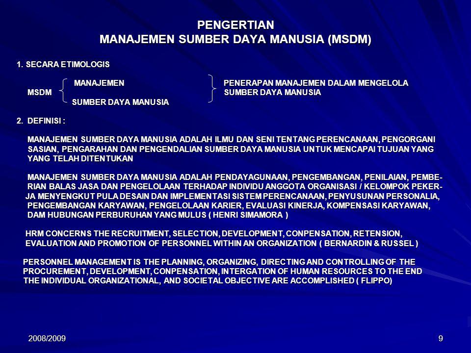 2008/200910 FUNGSI – FUNGSI MANAJEMEN SUMBER DAYA MANUSIA FUNGSI – FUNGSI MSDM FUNGSI MANAJERIAL FUNGSI OPERASIONAL 1.PLANNING 2.ORGANIZING 3.DIRECTING 4.CONTROLLING 1.PROCUREMENT 2.DEVELOPMENT 3.CONPENSATION 4.INTERGRATION 5.MAINTENANCE 6.SEPARATION BAGIAN RUANG LINGKUP MSDM