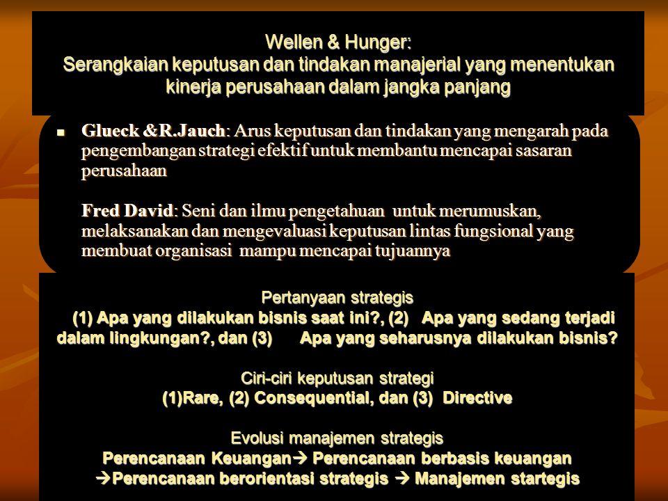 Wellen & Hunger: Serangkaian keputusan dan tindakan manajerial yang menentukan kinerja perusahaan dalam jangka panjang Glueck &R.Jauch: Arus keputusan