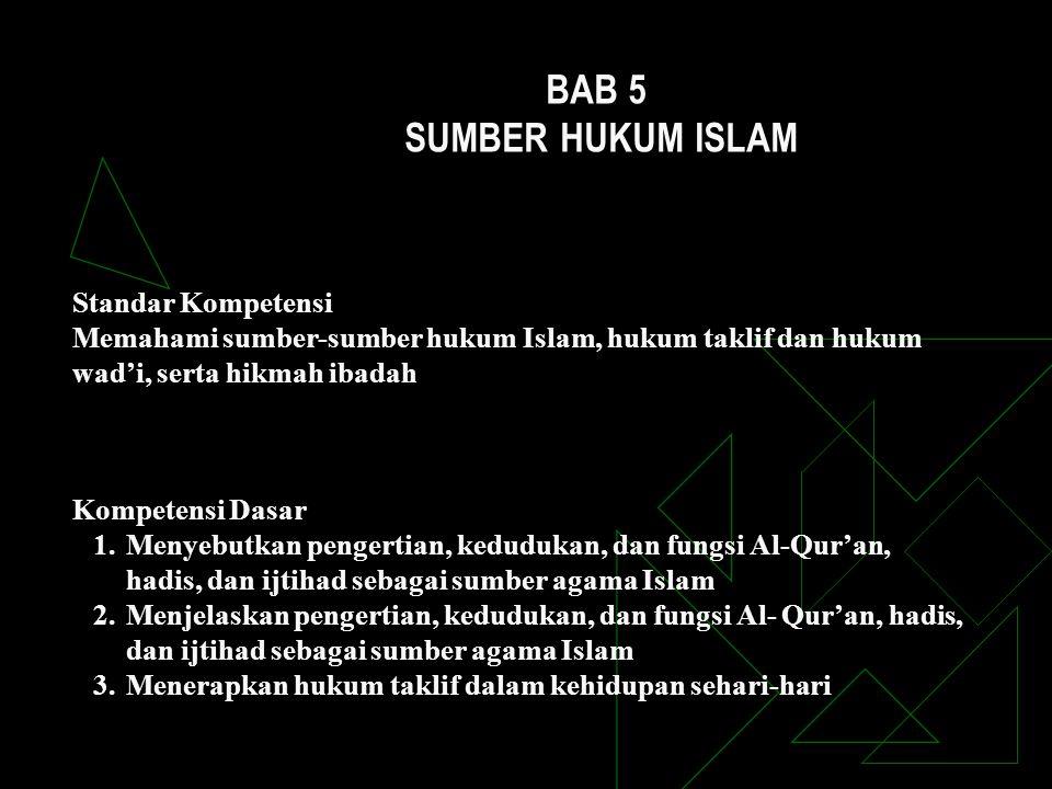 Standar Kompetensi Memahami sumber-sumber hukum Islam, hukum taklif dan hukum wad'i, serta hikmah ibadah Kompetensi Dasar 1.Menyebutkan pengertian, ke
