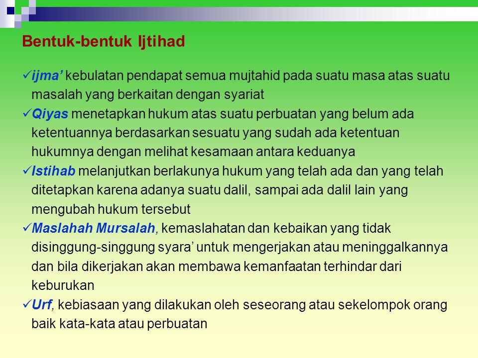 Bentuk-bentuk Ijtihad ijma' kebulatan pendapat semua mujtahid pada suatu masa atas suatu masalah yang berkaitan dengan syariat Qiyas menetapkan hukum
