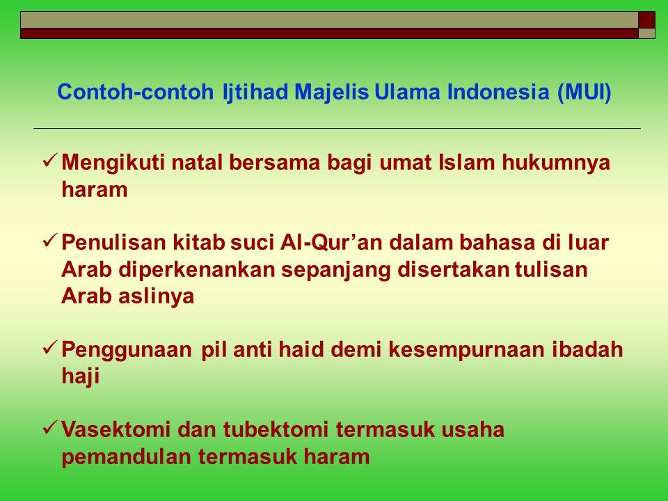 Contoh-contoh Ijtihad Majelis Ulama Indonesia (MUI) Mengikuti natal bersama bagi umat Islam hukumnya haram Penulisan kitab suci Al-Qur'an dalam bahasa