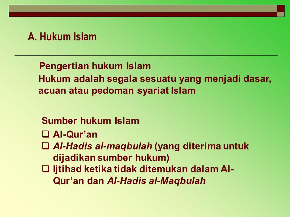 A. Hukum Islam Pengertian hukum Islam Sumber hukum Islam Hukum adalah segala sesuatu yang menjadi dasar, acuan atau pedoman syariat Islam  Al-Qur'an
