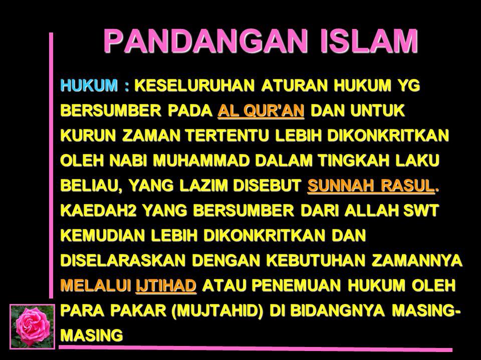 PANDANGAN ISLAM HUKUM : KESELURUHAN ATURAN HUKUM YG BERSUMBER PADA AL QUR'AN DAN UNTUK KURUN ZAMAN TERTENTU LEBIH DIKONKRITKAN OLEH NABI MUHAMMAD DALA