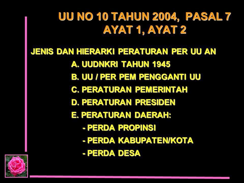 UU NO 10 TAHUN 2004, PASAL 7 AYAT 1, AYAT 2 JENIS DAN HIERARKI PERATURAN PER UU AN JENIS DAN HIERARKI PERATURAN PER UU AN A. UUDNKRI TAHUN 1945 A. UUD
