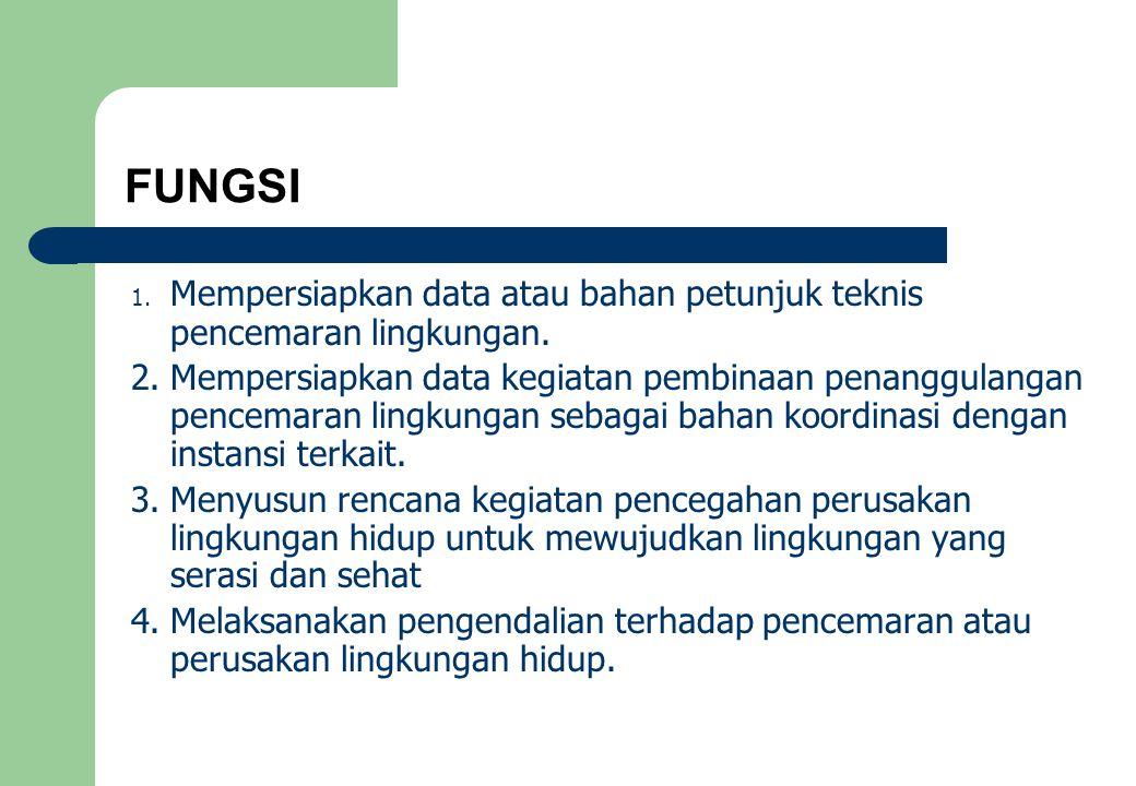 FUNGSI 1.Mempersiapkan data atau bahan petunjuk teknis pencemaran lingkungan.