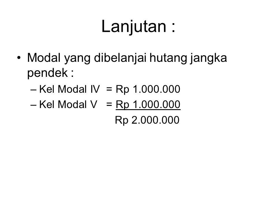 Lanjutan : Modal yang dibelanjai hutang jangka pendek : –Kel Modal IV = Rp 1.000.000 –Kel Modal V = Rp 1.000.000 Rp 2.000.000