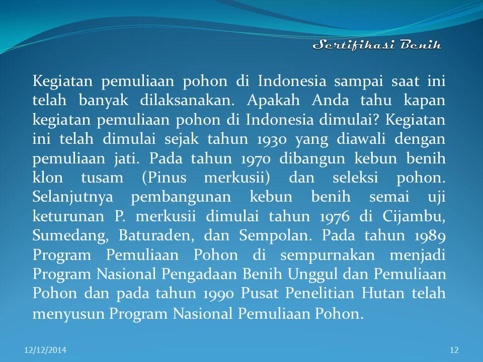 Kegiatan pemuliaan pohon di Indonesia sampai saat ini telah banyak dilaksanakan. Apakah Anda tahu kapan kegiatan pemuliaan pohon di Indonesia dimulai?
