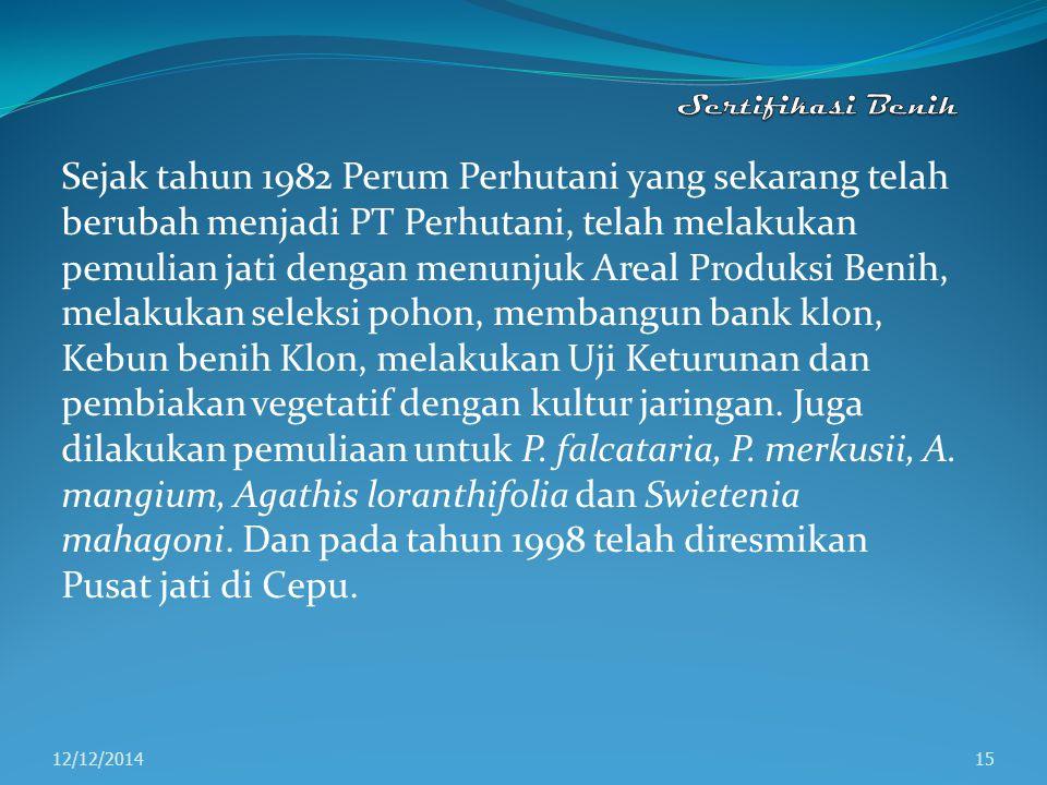 Menurut Suseno (1996 dalam Sudradjat dkk (eds), 1998) lembaga-lembaga yang sampai saat ini terlibat dalam pelaksanaan program pemuliaan pohon di Indonesia adalah sebagai berikut: a.